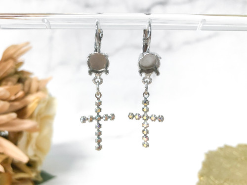 8.5mm | Dangle Crystal AB Rhinestone Cross Earrings | One Pair