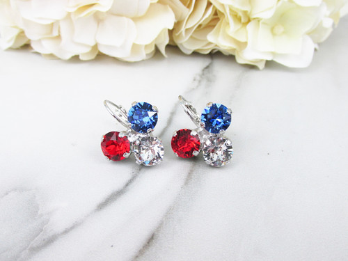 Patriotic Triangle Drop Earrings made with Swarovski Crystals