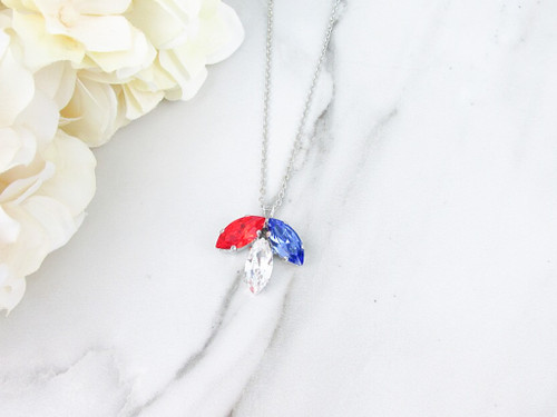 Patriotic Three Leaf Pendant Necklace made with Swarovski Crystals