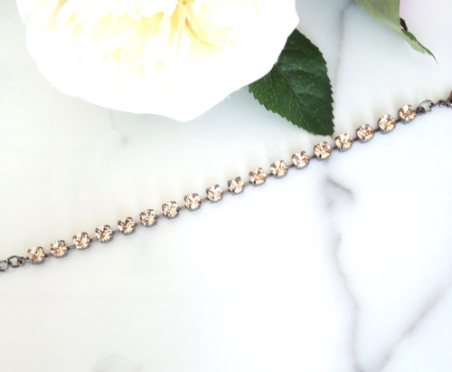 The Lori Bracelet made with Swarovski Light Peach Crystals