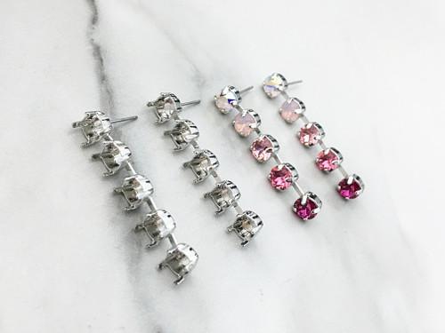 6mm Five Setting Drop Stud Earrings