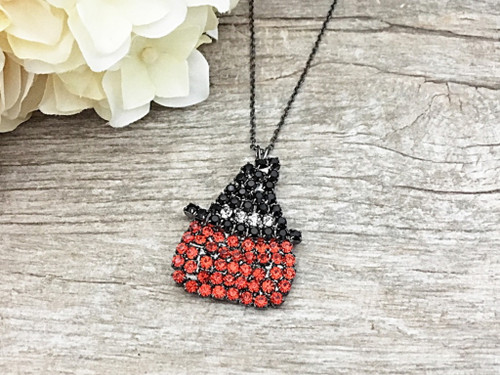 Pumpkin With Witch Hat Crystal Rhinestone Necklace | One Piece