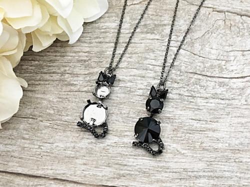 Jet Crystal Rhinestone Black Cat Necklace