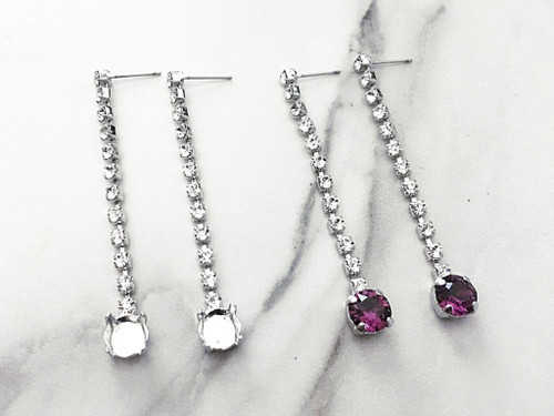 8.5mm | One Setting Crystal Dangle Drop Stud Earrings | One Pair