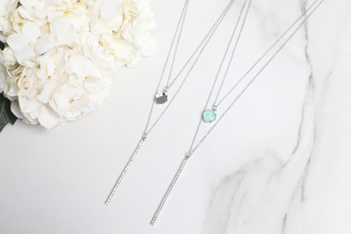 12mm Square | Layered Crystal Drop Necklace | One Piece