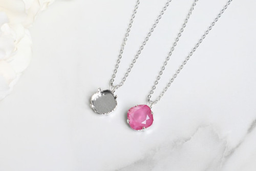 12mm Square | Single Pendant On Necklace Chain | One Piece