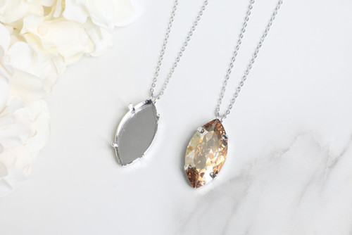 32mm x 17mm Navette   Single Pendant On Necklace Chain   One Piece