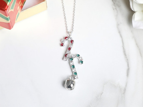 Candy Canes and Jingle Bell Crystal Necklace | One Piece