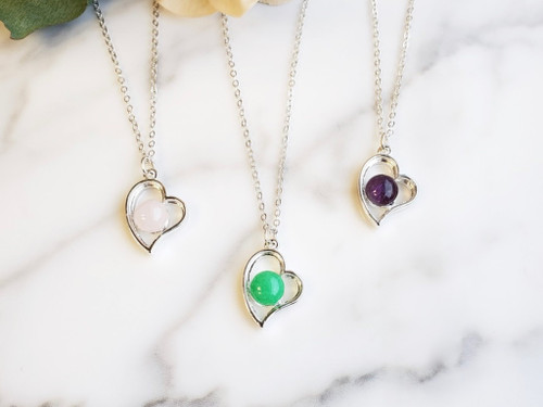 Set of Three Gemstone Heart Necklaces in Sterling Silver Overlay