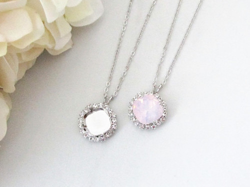 12mm Square | Crystal Halo Single Pendant On Necklace Chain | One Piece
