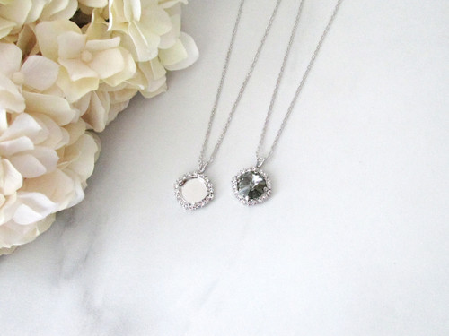 12mm Round | Crystal Halo Single Pendant On Necklace Chain | One Piece - Choose Crystal Halo Color