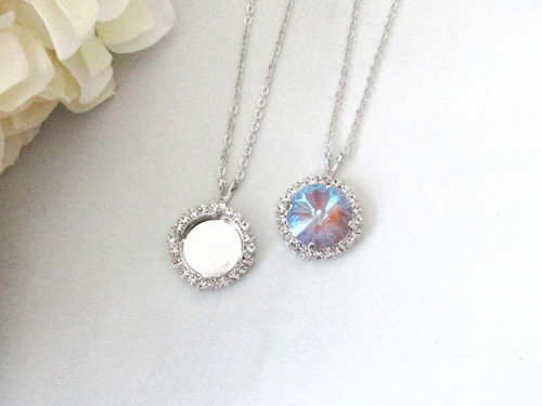 14mm Round | Crystal Halo Single Pendant On Necklace Chain | One Piece