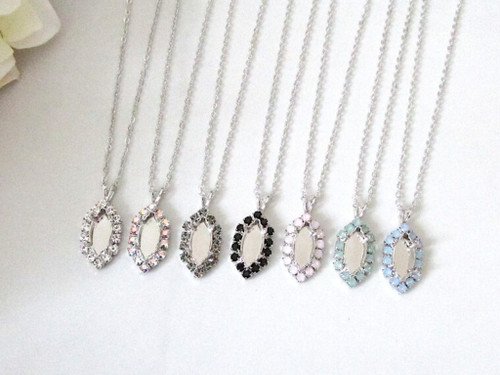 15mm x 7mm Navette | Crystal Halo Single Pendant On Necklace Chain | One Piece - Choose Crystal Halo Color
