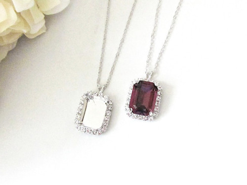 18mm x 13mm Octagon | Crystal Halo Single Pendant On Necklace Chain | One Piece