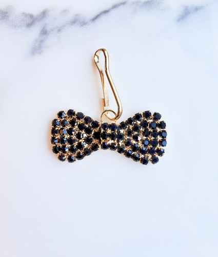 Rhinestone Bow Tie Charm shown in Gold with Jet crystals
