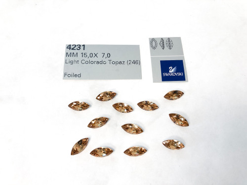 15x7mm Fancy Cut Navette | Light Colorado Topaz | 12 pieces