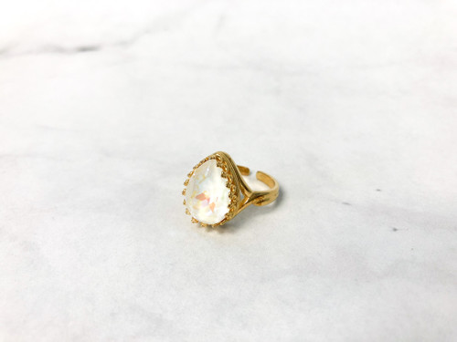 Gold Crown Ring with Swarovski Light Grey DeLite | Make it Yourself
