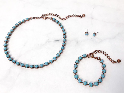 Turquoise Bracelet, Earring and Necklace Bundle