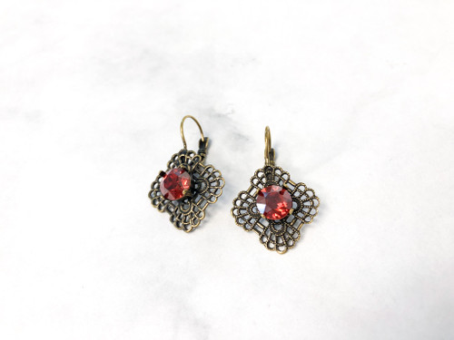 Earring with Out of Production Swarovski 8.5mm stone in Red Magma | Make it Yourself