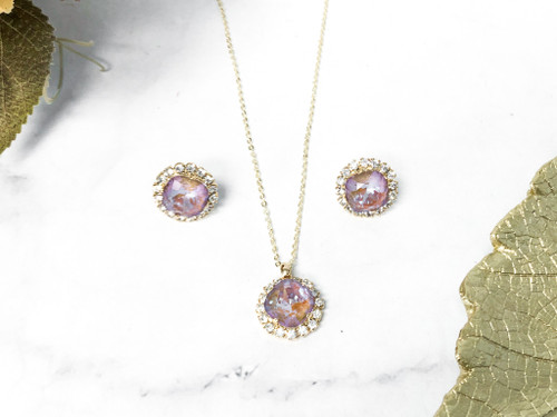 12mm Cappuccino DeLite Halo Necklace and 12mm Earring Set