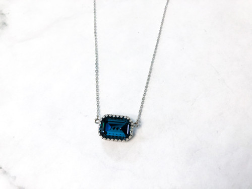 Crown Octagon Necklace with Montana Swarovski Crystal
