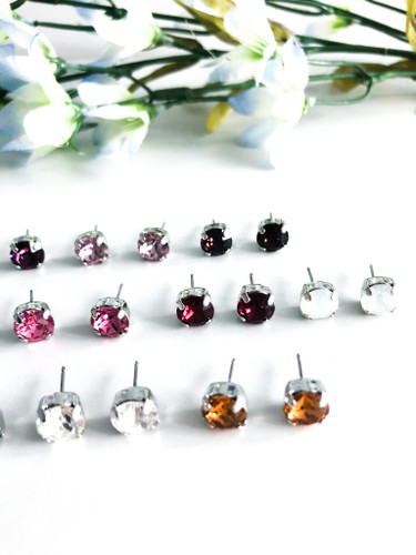 Birthstone Stud Earrings made with Swarovski Crystals