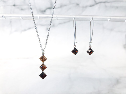 Triple Topaz Cushion Cut Jewelry Set made with Swarovski Crystals