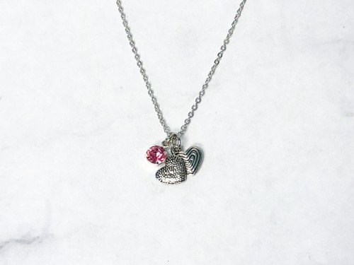 Double Heart Necklace with Light Rose