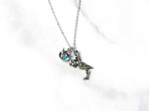 Baby on the Way Stork Necklace with Empty 8.5mm