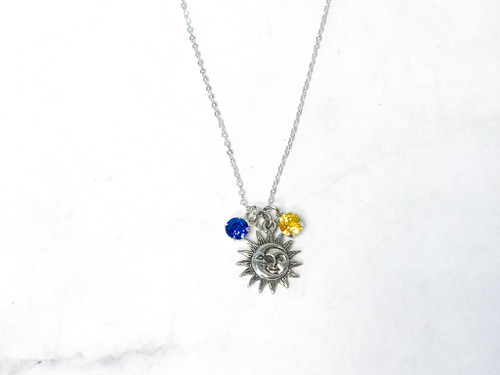 Sun and Moon Necklace with Sapphire and Light Topaz Swarovski Crystals