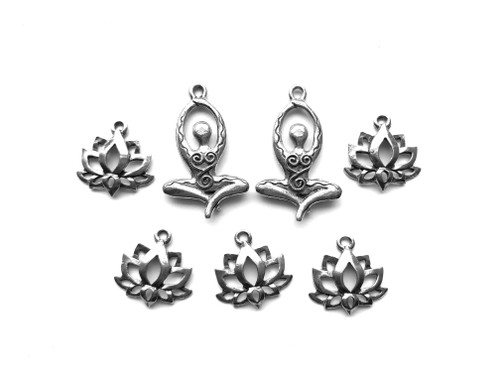 Yoga and Lotus Flower Charm Bundle 7 Pieces Per Pack