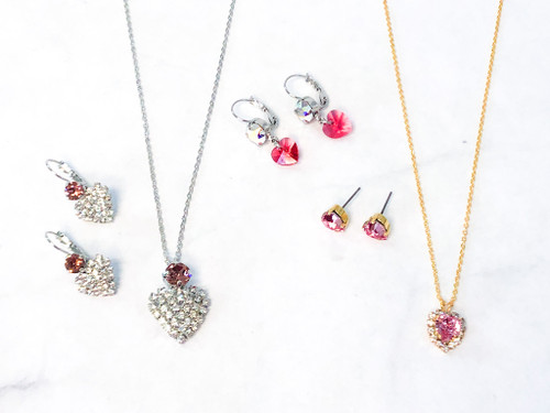 Heart Jewelry Bundle Set made with Swarovski Crystals