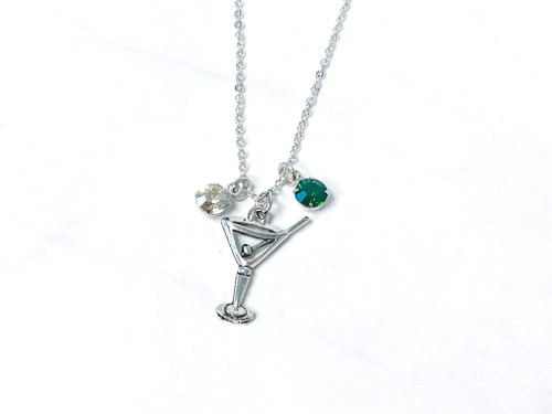 Martini Necklace with Vintage Palace Green Opal and Crystal