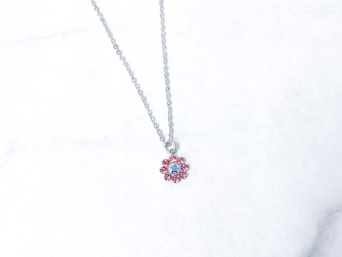 Light Rose Flower Necklace made with Swarovski Crystal