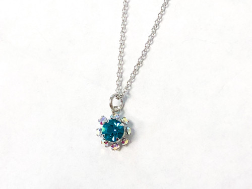 Blue Zircon and Crystal AB Flower Necklace made with Swarovski Crystal