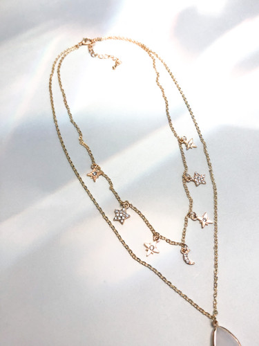 Stars Water Drop Double Layer Necklace