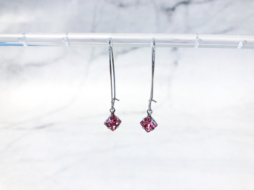 Light Rose Cushion Cut Earrings made with Swarovski Crystals
