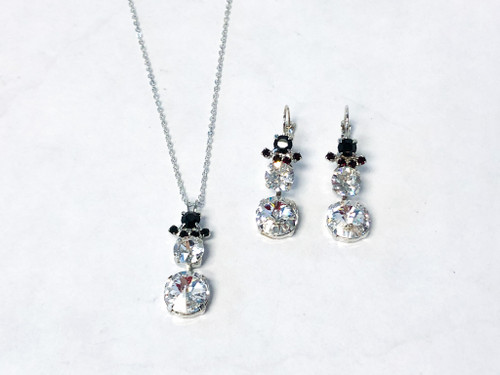 Snowman Necklace and Earring Set made with Swarovski Crystals - Ready to Wear