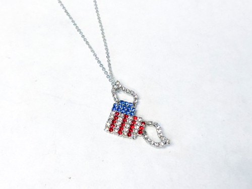 Winged American Flag Necklace made with Swarovski Crystals