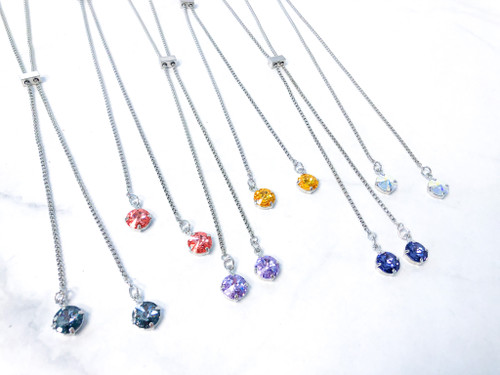 6 11mm Slider Necklaces with Swarovski Crystals Lot B