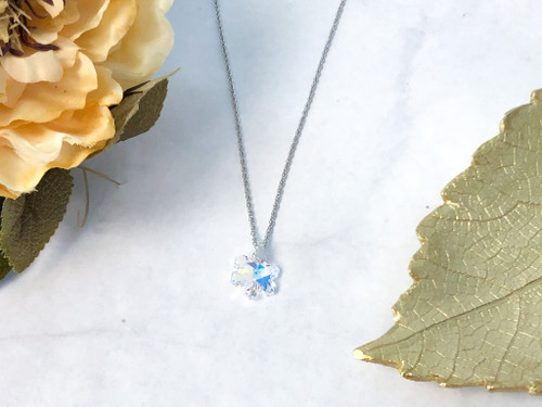 18mm Snowflake Necklace made with Swarovski Crystals
