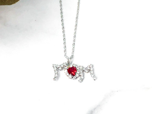 Simple Siam Mom Rhinestone Pendant Necklace made with Swarovski Crystal
