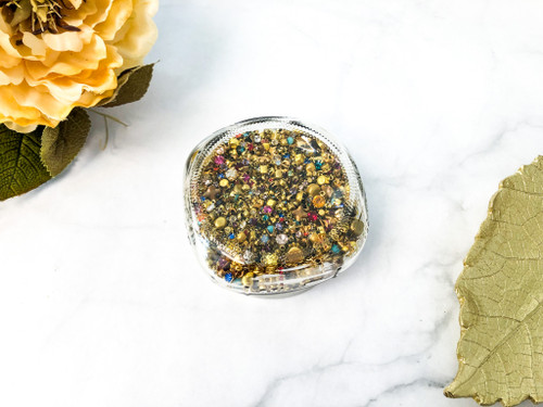 Huge Brass Closeout Mason Jar Assortment 1500+ Pieces of Swarovski Crystal Findings 2mm-6mm