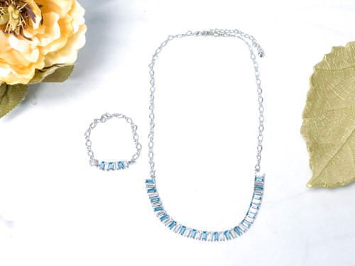 Aquamarine Baguette Bracelet and Necklace Set