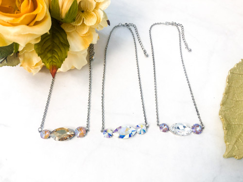 3 Lot Necklace made with Swarovski Crystals - Finished