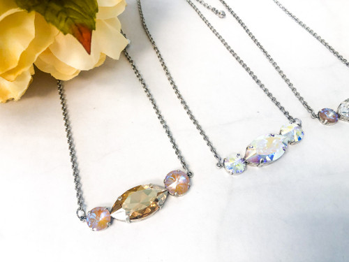 3 Necklaces made with Swarovski Crystals - Finished