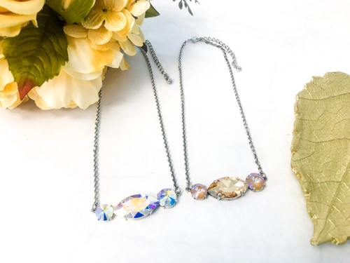 2 Lot Necklace made with Swarovski Crystals - Finished