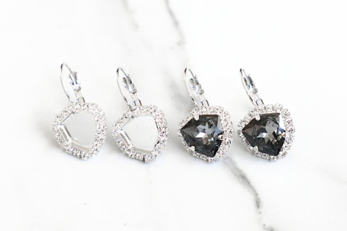 12mm Trilliant | Crystal Halo Drop Earrings | One Pair