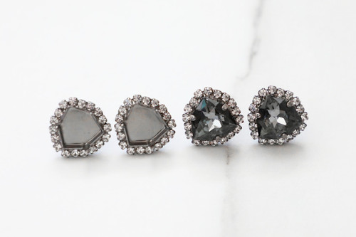12mm Trilliant | Crystal Halo Stud Earrings | One Pair
