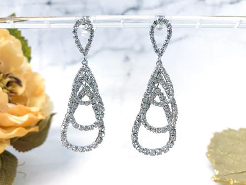 Fancy Teardrop Loop Earrings made with Swarovski Rhinestone Chain in Crystal